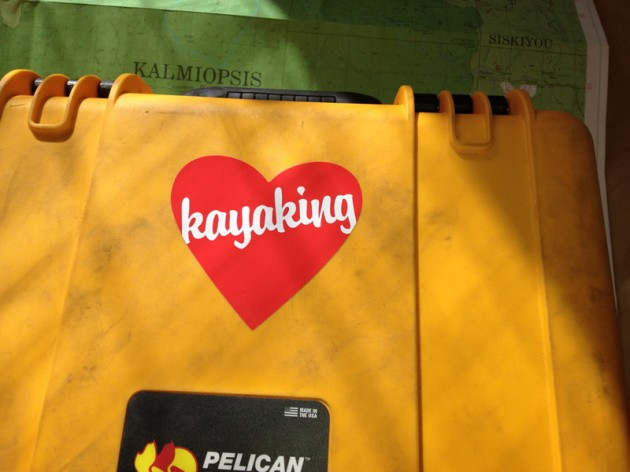 Heart Kayaking sticker on a Pelican Case