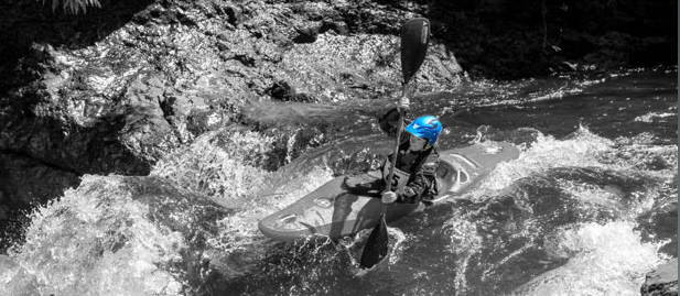 Kim Becker running Thrasher on Canyon Creek, WA with her Adventure Technology AT2 Flexi