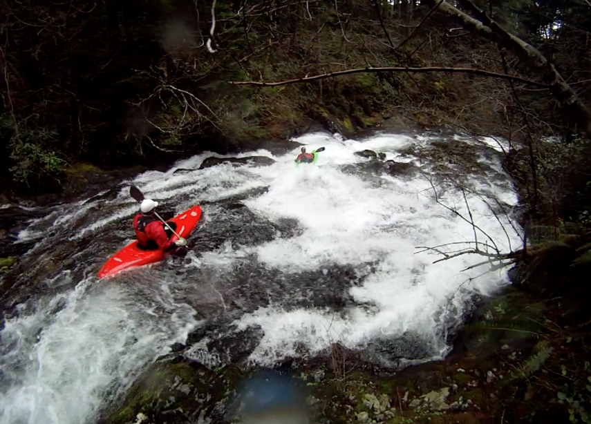 Nate Herbeck and Josh Armagost making their way down the lead-in slide on Euphoria Falls