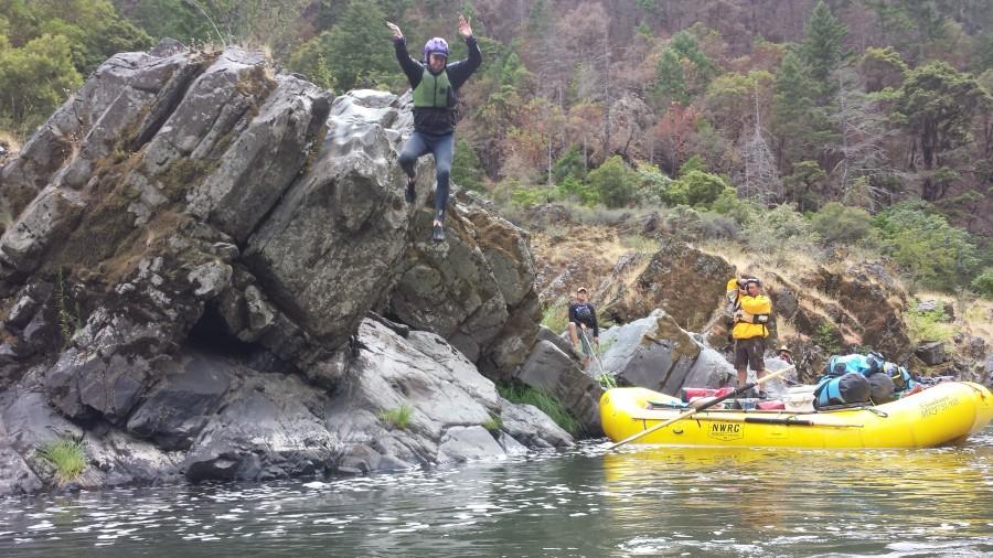 Charlie rock jumping at Big Windy Creek