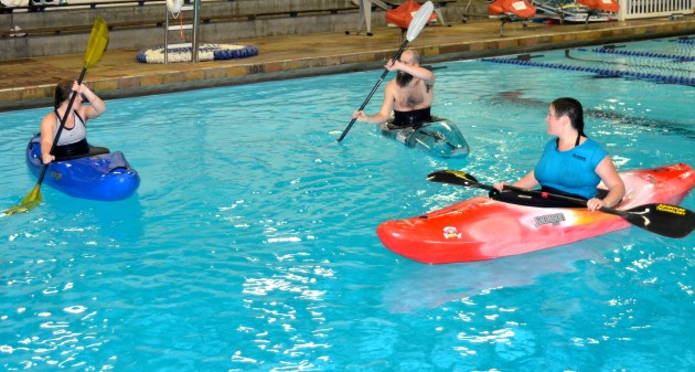 kayakers at local pool session
