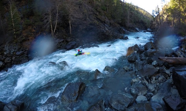 Nicole Mansfield running a typical rapid in the Upper Chetco River