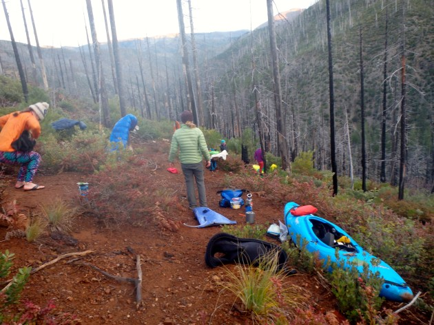 kayakers camp on trail to Chetco River